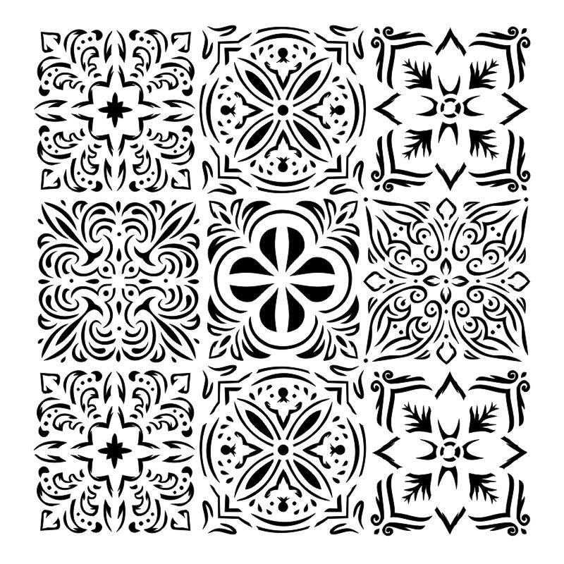 Italian floor 6x6-os stencil, BELLA