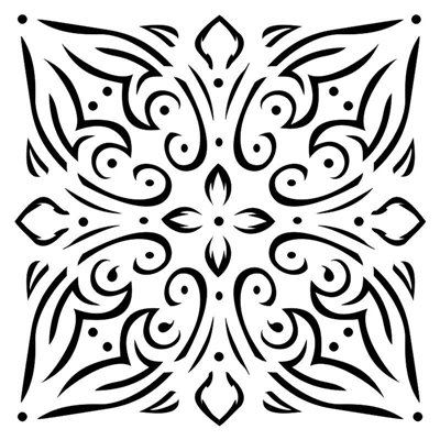 Tile ornament 6x6-os stencil, BELLA