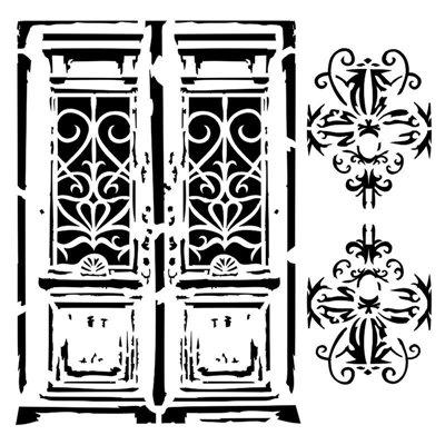 Vintage door 6x6-os stencil, BELLA