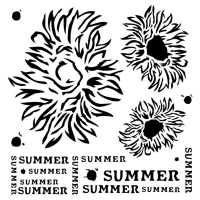Summer Flowers 6x6-os stencil, END OF SUMMER