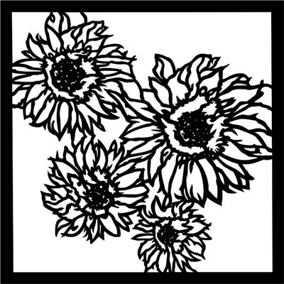 Stencil Sunflowers 6x6-os stencil, END OF SUMMER
