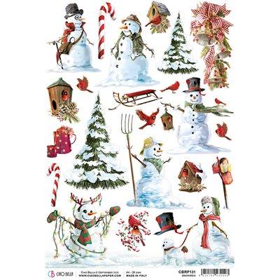 Rizspapír A4 - Snowmen