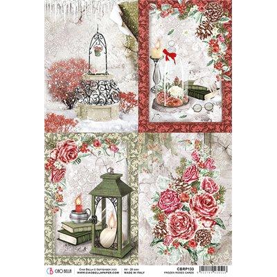 Rizspapír A4 - Frozen Roses Cards