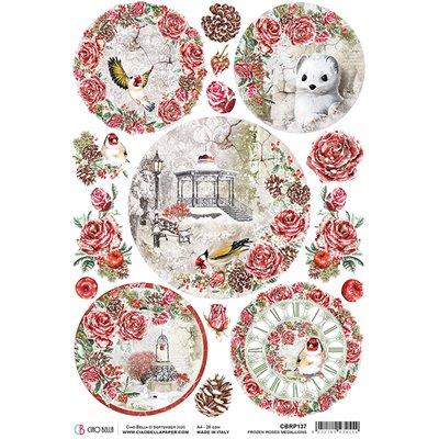 Rizspapír A4 - Frozen Roses Medallions