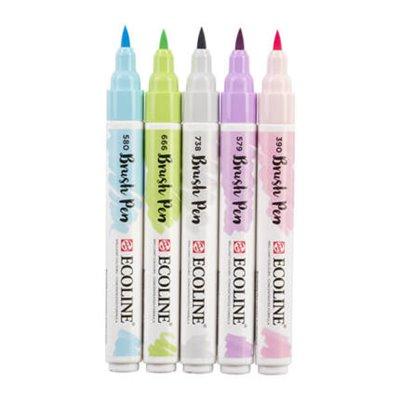 Ecoline brush pen ecsetfilc készlet - 5 db, pastel, pasztell színek