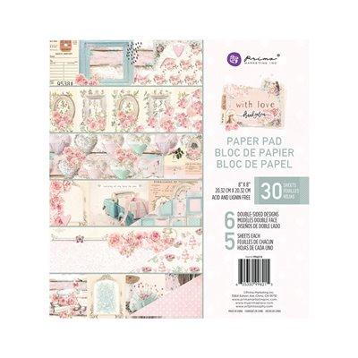 With Love kollekció 8x8 paper pad - 8″ x 8.5″, 30 lap