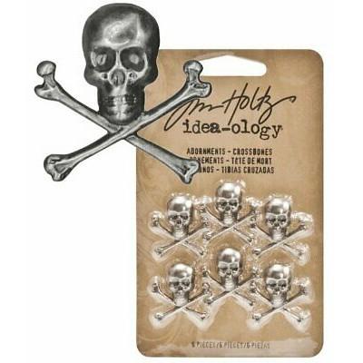 Tim Holtz Idea-ology Adornments Crossbones (6 db)