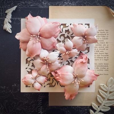 Foamiran virágok - mikulás vegyes méretben (rózsaszín)