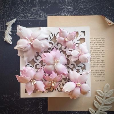 Foamiran virágok - mikulás vegyes méretben (lila)