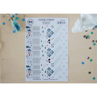 Winter Fun papír csíkok - színes matrica