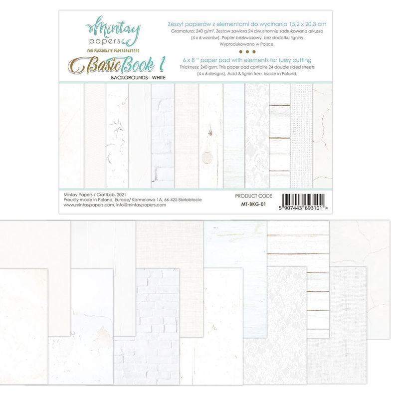 """Basic Book - White - 6""""x8""""-es háttérpapír kollekció"""