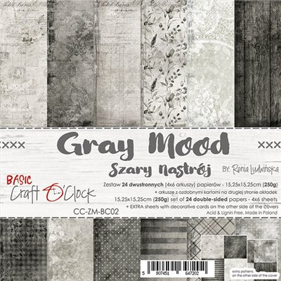 Grey Mood - Basic set - papírkészlet 15,25 x 15,25 cm