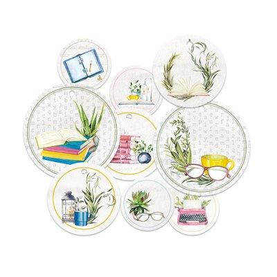 Garden of Books - dekorációs címkék 01 - 9 db