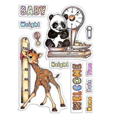 """Szilikonbélyegző szett 4""""x6""""- Baby Height & Weight"""