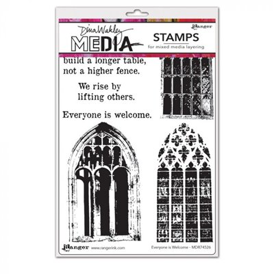 Dina Wakley Media Cling Stamp - Everyone Is Welcome