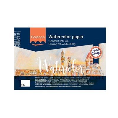 Florence - A6-os akvarell papír tömb 300g - 24 db (Classic Off-white)
