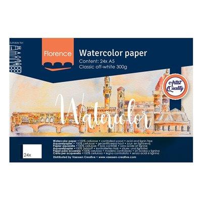 Florence - A5-ös akvarell papír tömb 300g - 24 db (Classic Off-white)