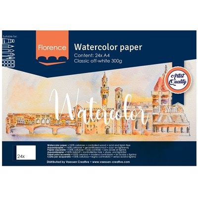 Florence - A4-es akvarell papír tömb 300g - 24 db (Classic Off-white)