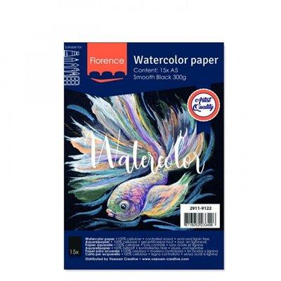 Florence - A5-ös fekete akvarell papír szett 300g - 15 db (smooth)