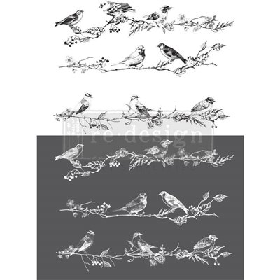 Re-Design with Prima Birds Berries 24x34 Inch transzferfólia