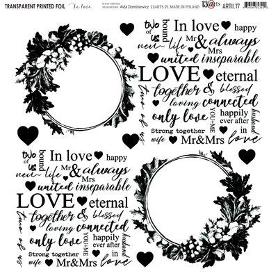 """Átlátszó fólia - In Love - 12""""x12"""""""