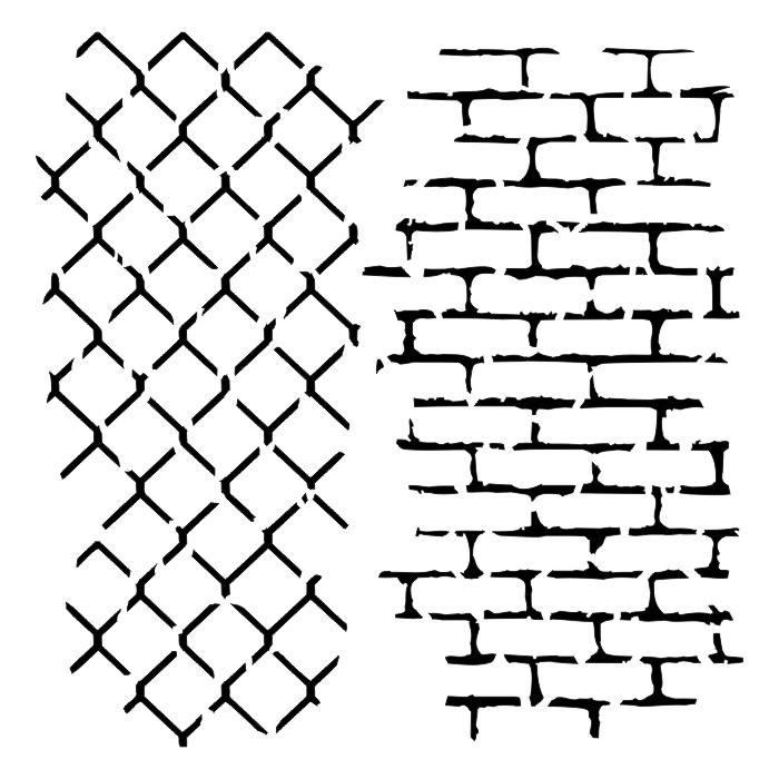 "Brick and Wire 6""x6""-os stencil, Mr. Handsome"