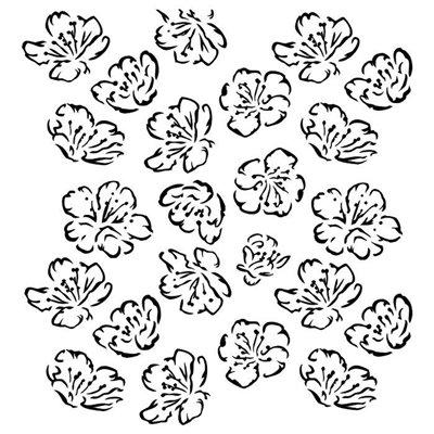 "Spring Flowers 6""x6""-os stencil, Pastel Spring"