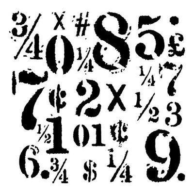 "Big Numbers 6""x6""-os stencil, Young and Free"