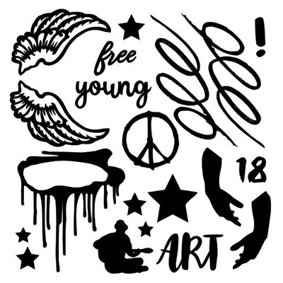 "Young and Free chipboard szett 6""x6"""