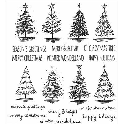 Tim Holtz Cling Stamps - Scribbly Christmas - bélyegzőszett
