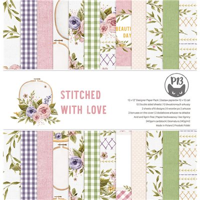 """Stitched with Love - 12""""-es maxi kollekció (12 db 2 oldalas papír + 2 db kivágóív)"""