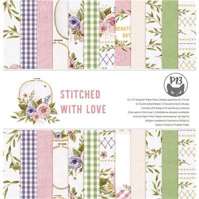 """Stitched with Love - 12""""-es mini kollekció (6 db 2 oldalas papír + 1 db kivágóív)"""