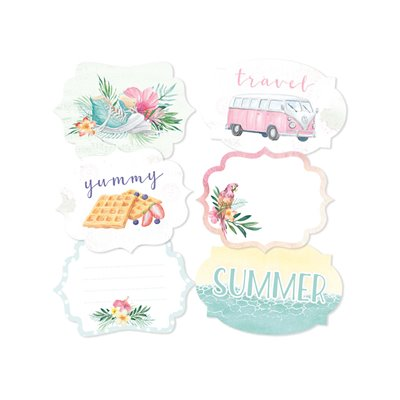 Summer vibes - dekorációs címkék 04 - 6 db