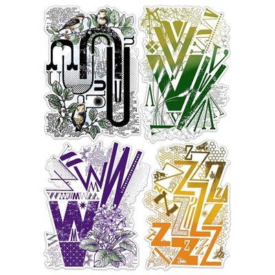 """Szilikonbélyegző szett 6""""x8""""- Design Letters UVWZ"""