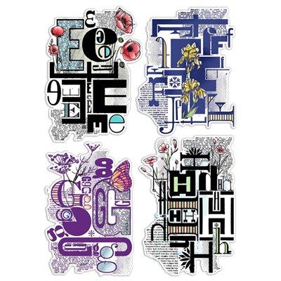 """Szilikonbélyegző szett 6""""x8""""- Design Letters EFGH"""