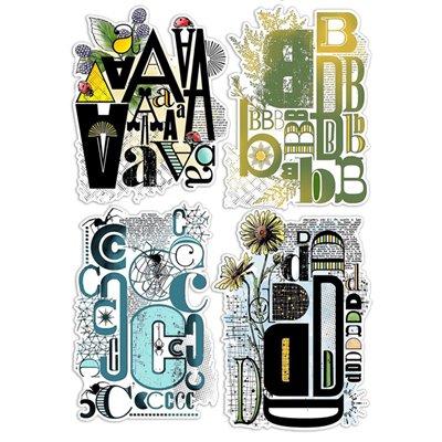 """Szilikonbélyegző szett 6""""x8""""- Design Letters ABCD"""