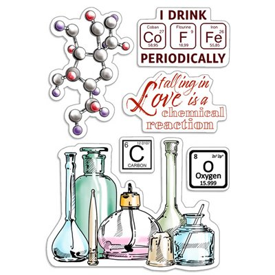 """Szilikonbélyegző szett 4""""x6""""- Chemical Reaction"""