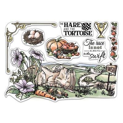 """Szilikonbélyegző szett 6""""x8""""- The Hare and the Tortoise"""