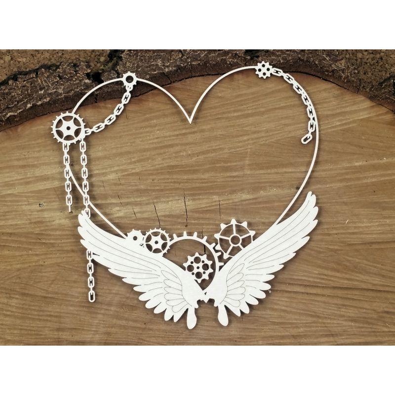 Steampunk-Flying hearts - Nagy szív keret