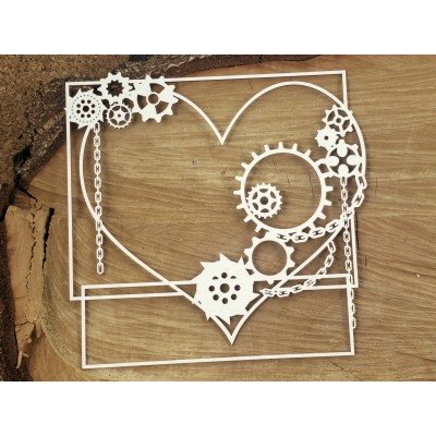 Steampunk-Flying hearts - Nagy négyzet keret