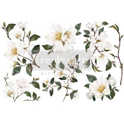 Re-Design with Prima White Magnolia 6x12 Inch transzferfólia