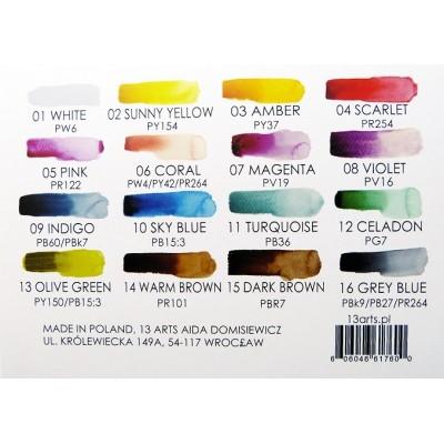 Vízfesték paletta 16 színnel