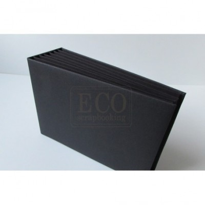 Fekete 3D album vászon borítással  - 22x16 cm, 6 lapos