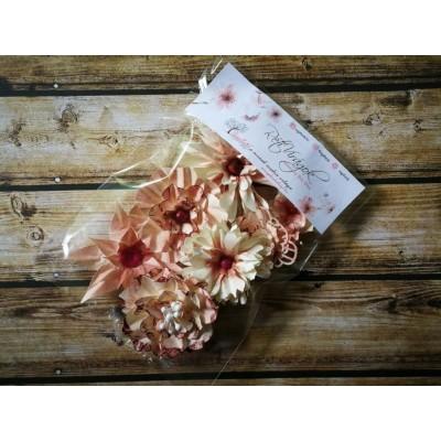 Kézzel készített papír virág -  7 db pirosas rózsaszín