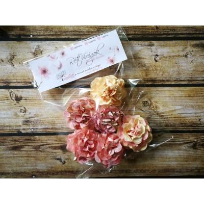 Kézzel készített papír virág -  7 db rózsaszín-sárga