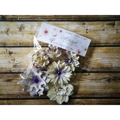Kézzel készített papír virág -  7 db halvány lila