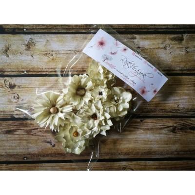 Kézzel készített papír virág -  7 db khaki