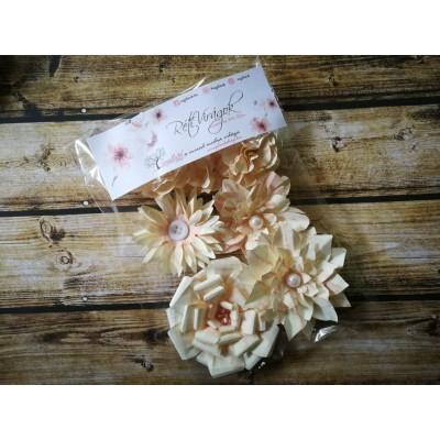 Kézzel készített papír virág -  7 db barack