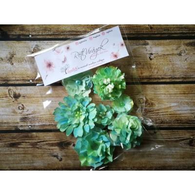 Kézzel készített papír virág -  7 db menta-zöld