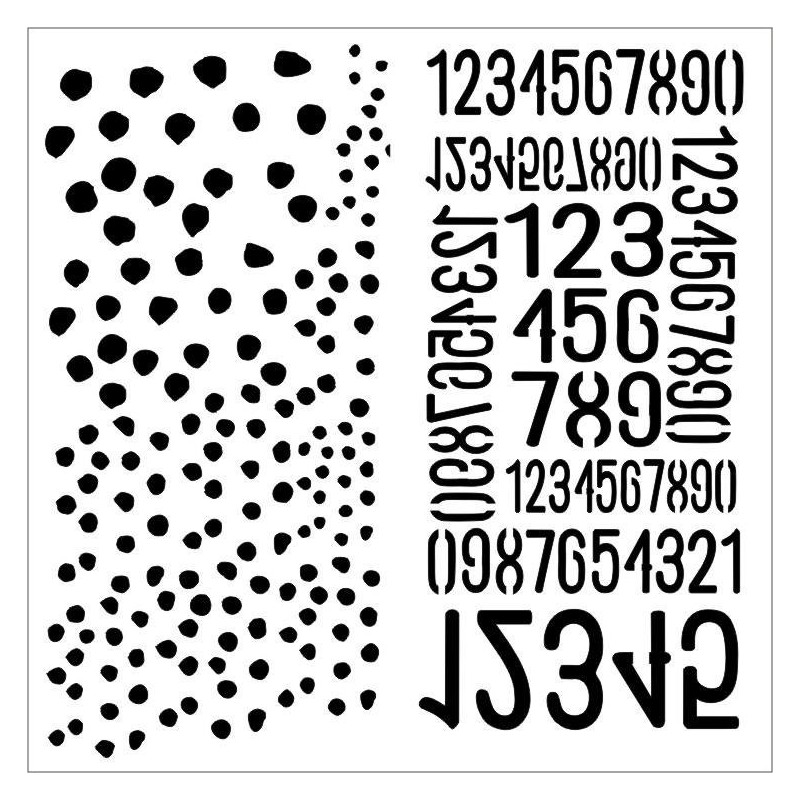 Dots and Numbers - Aqua Flora stencil